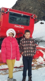 Kids with piste basher